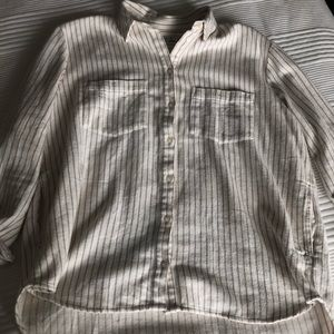 Madewell Grey & White Flannel With Pockets!!